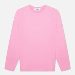 Мужской лонгслив MSGM Micrologo Seasonal Crew Neck Bright Pink/White