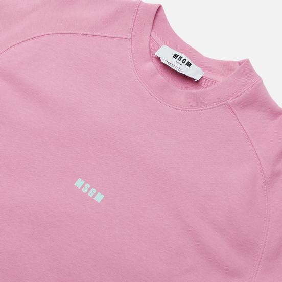 Мужская толстовка MSGM Micrologo Seasonal Crew Neck Bright Pink/White