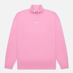 Мужская толстовка MSGM Micrologo Seasonal High Collar Bright Pink/White