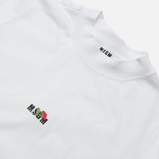 Женская футболка MSGM Micrologo Rose Flower Crew Neck Optical White/Black