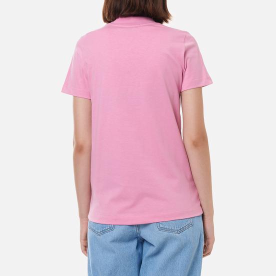 Женская футболка MSGM Micrologo Rose Flower Crew Neck Bright Pink/Black