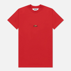 Женская футболка MSGM Micrologo Rose Flower Crew Neck Red/Black