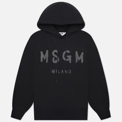 Женская толстовка MSGM Paint Logo Hoodie Black