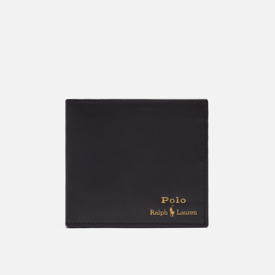 Кошелек Polo Ralph Lauren Gold Polo Pony Bill Fold Smooth Leather Brown