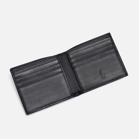 Кошелек Polo Ralph Lauren Gold Polo Pony Bill Fold Smooth Leather Black