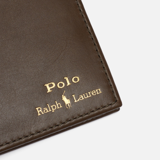 Кошелек Polo Ralph Lauren Gold Polo Pony Bill Fold Smooth Leather Olive