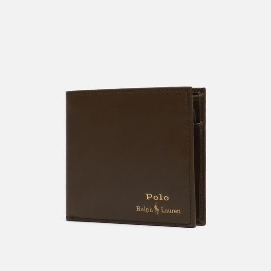Кошелек Polo Ralph Lauren Gold Polo Pony Bill Fold Coin Smooth Leather Olive