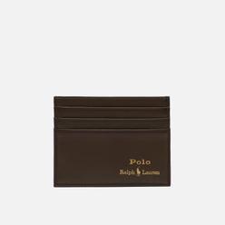 Держатель для карточек Polo Ralph Lauren Gold Polo Pony Smooth Leather Olive