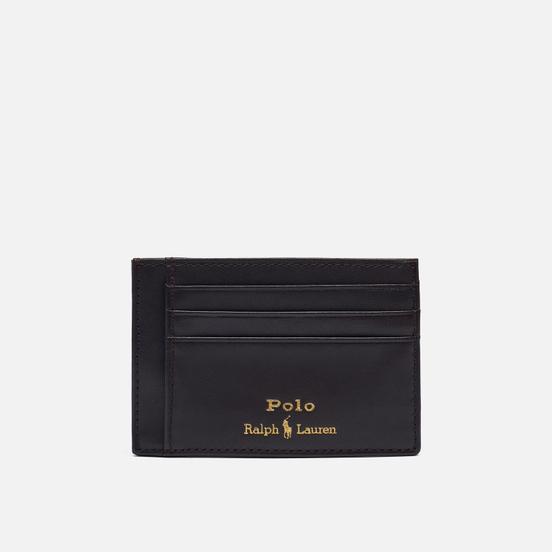 Держатель для карточек Polo Ralph Lauren Gold Polo Pony Money Clip Smooth Leather Brown