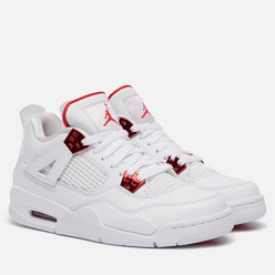 Подростковые кроссовки Jordan Air Jordan 4 Retro GS White/University Red/Metallic Silver