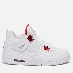 Подростковые кроссовки Jordan Air Jordan 4 Retro GS White/University Red/Metallic Silver
