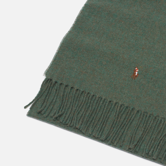 Шарф Polo Ralph Lauren Fringed Virgin Wool Moss Green Heather