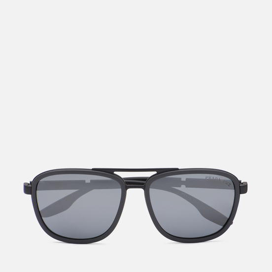 Солнцезащитные очки Prada Linea Rossa 50XS-09O07H-3P Polarized Matte Blak Grey Rubber/Polar Dark Grey Mirror Silver