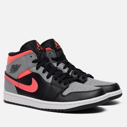 Мужские кроссовки Jordan Air Jordan 1 Mid Pink Shadow Black/Hot Punch/White/Particle Grey