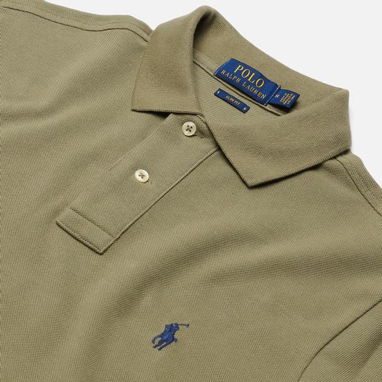 Мужское поло Polo Ralph Lauren The Iconic Basic Mesh Slim Fit Sage Green/Navy