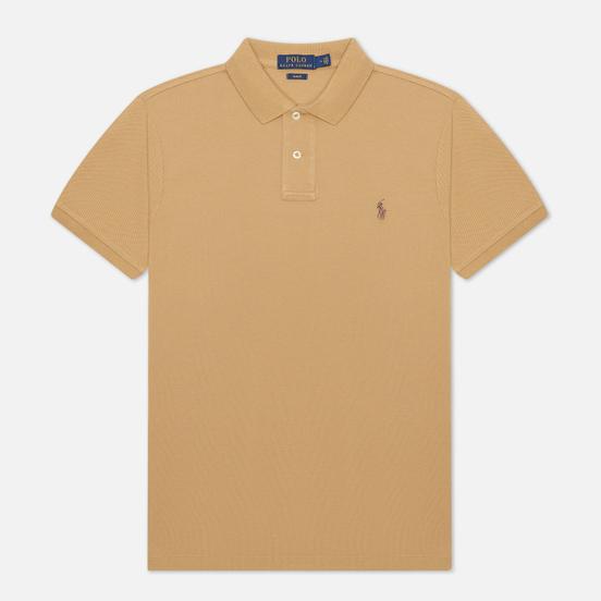 Мужское поло Polo Ralph Lauren The Iconic Basic Mesh Slim Fit Luxury Tan/Brown