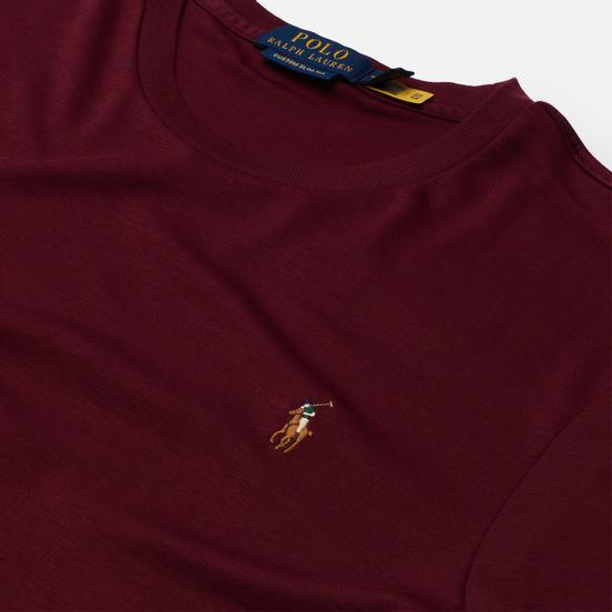 Мужская футболка Polo Ralph Lauren Custom Slim Fit Interlock Classic Wine
