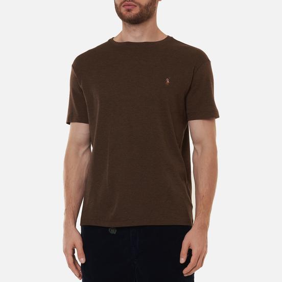 Мужская футболка Polo Ralph Lauren Custom Slim Fit Interlock Nutmeg Brown Heather