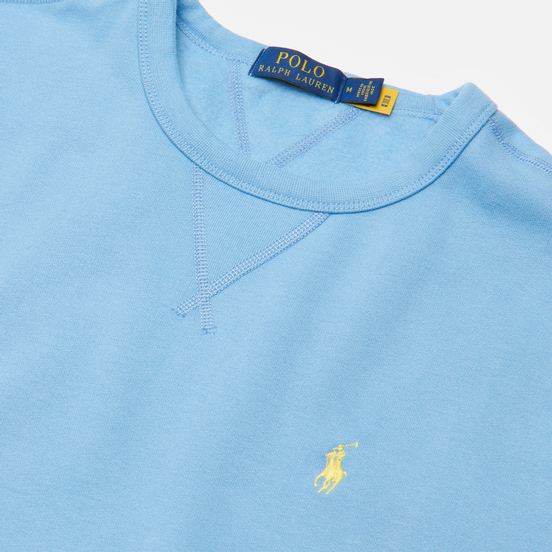 Мужская толстовка Polo Ralph Lauren Embroidered Pony Fleece Crew Neck Blue Lagoon
