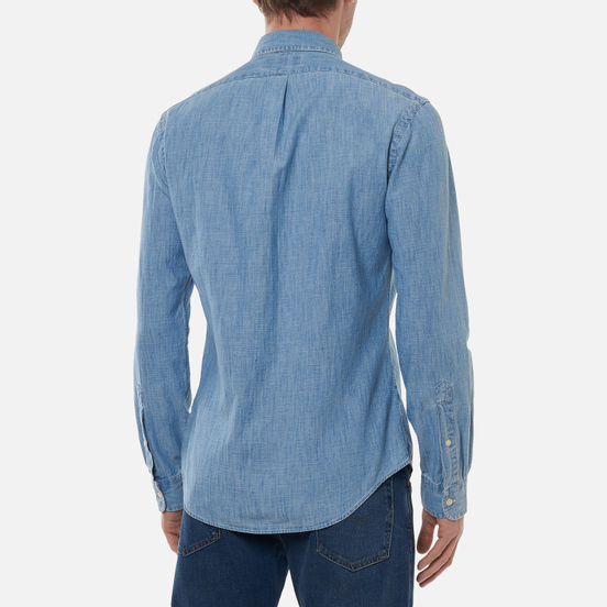 Мужская рубашка Polo Ralph Lauren Slim Fit Indigo Chambray Light Indigo
