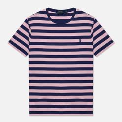 Мужская футболка Polo Ralph Lauren Custom Slim Fit Striped Boathouse Navy/Garden Pink