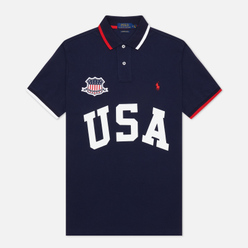 Мужское поло Polo Ralph Lauren The USA Custom Slim Fit Cruise Navy