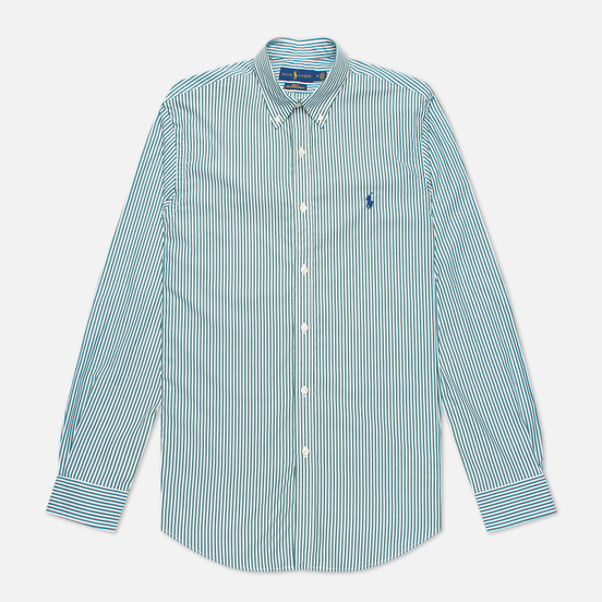 Мужская рубашка Polo Ralph Lauren Slim Fit Striped Natural Poplin Pine/White