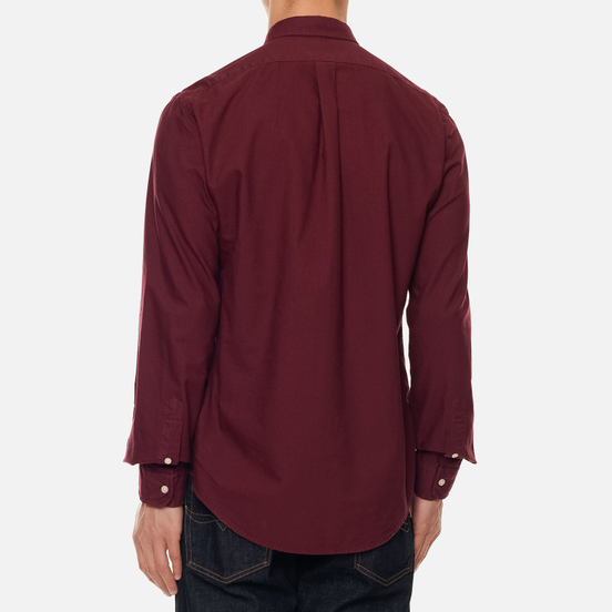Мужская рубашка Polo Ralph Lauren Slim Fit Garment Dyed Oxford Classic Wine