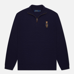 Мужской свитер Polo Ralph Lauren Half-Zip Embroidered Bear Hunter Navy