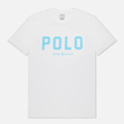 Мужская футболка Polo Ralph Lauren Logo Print Custom Slim Fit White/French Turquoise
