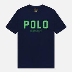 Мужская футболка Polo Ralph Lauren Logo Print Custom Slim Fit French Navy/Neon Green