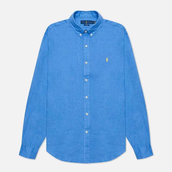 Мужская рубашка Polo Ralph Lauren Slim Fit Piece Dye Linen Harbour Island Blue