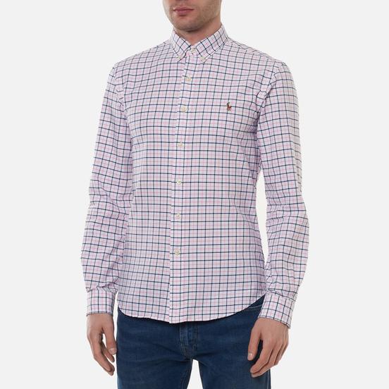 Мужская рубашка Polo Ralph Lauren Slim Fit Plaid Oxford Pink/White