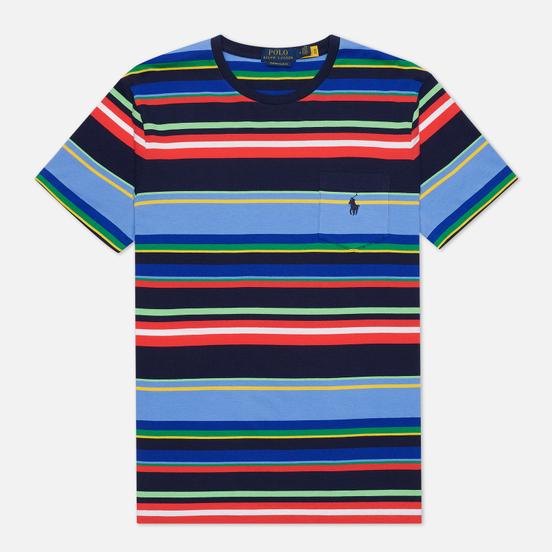 Мужская футболка Polo Ralph Lauren Custom Slim Fit Striped Newport Navy/Multi