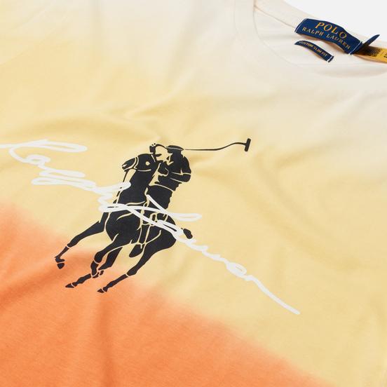 Мужская футболка Polo Ralph Lauren Custom Slim Fit Dip-Dyed Graphic Classic Peach Dip Dye/Multi