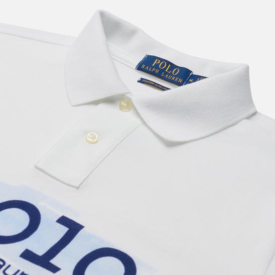 Мужское поло Polo Ralph Lauren Custom Slim Fit Polo Club Scenic White