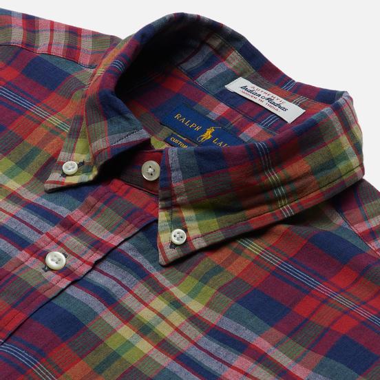 Мужская рубашка Polo Ralph Lauren Custom Fit Indigo Bleeding Madras Navy/Red Multi