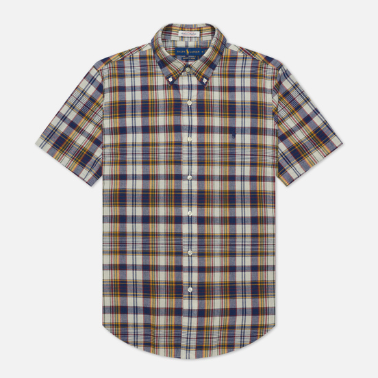 Мужская рубашка Polo Ralph Lauren Custom Fit Indigo Bleeding Madras Navy/Yellow Multi