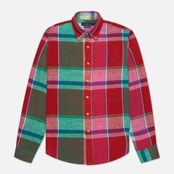 Мужская рубашка Polo Ralph Lauren Linen Plaid Custom Fit Red/Green Multi