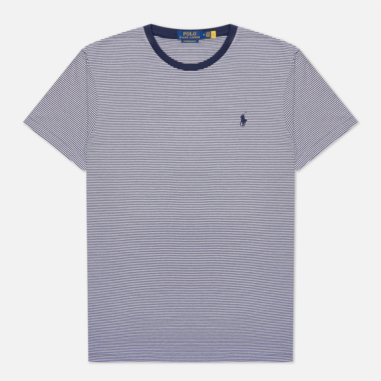 Мужская футболка Polo Ralph Lauren Custom Slim Fit Striped Crew Neck French Navy/White