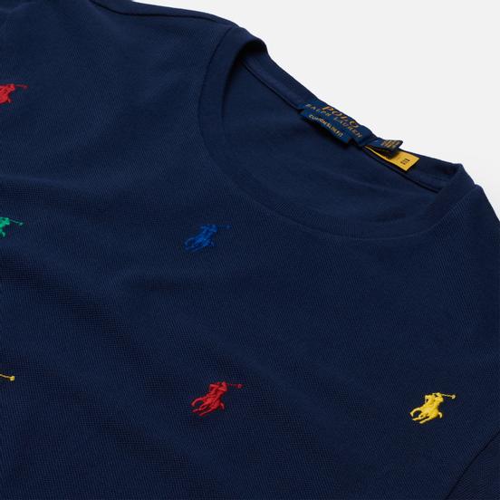Мужская футболка Polo Ralph Lauren All Over Embroidered Polo Pony Newport Navy
