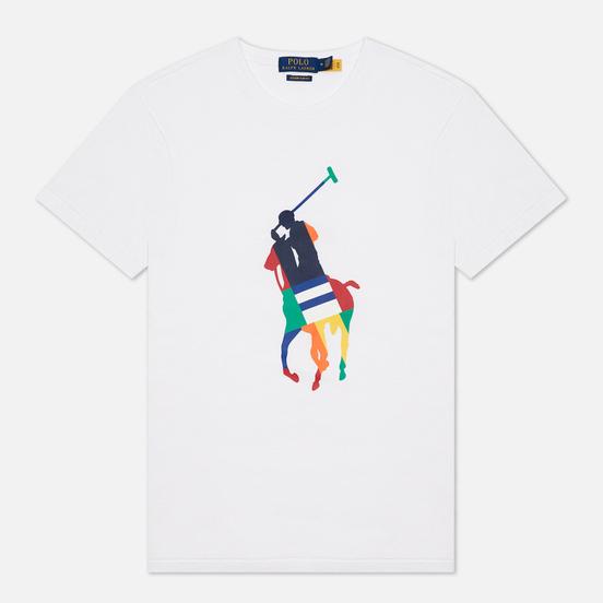 Мужская футболка Polo Ralph Lauren Custom Slim Fit Big Pony White