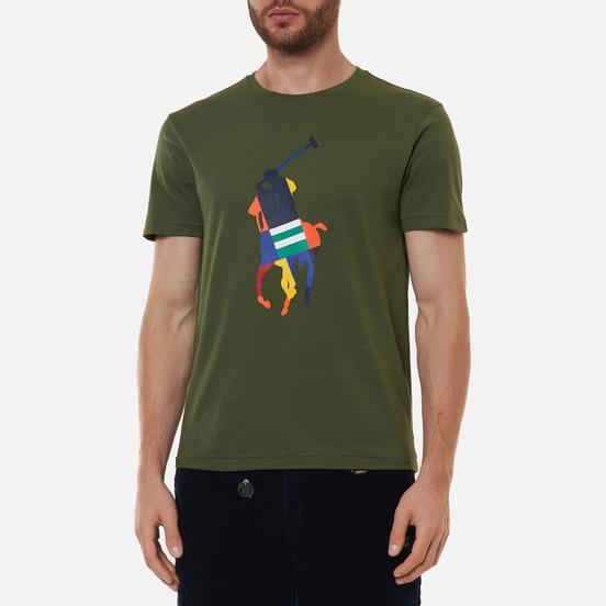 Мужская футболка Polo Ralph Lauren Custom Slim Fit Big Pony Army