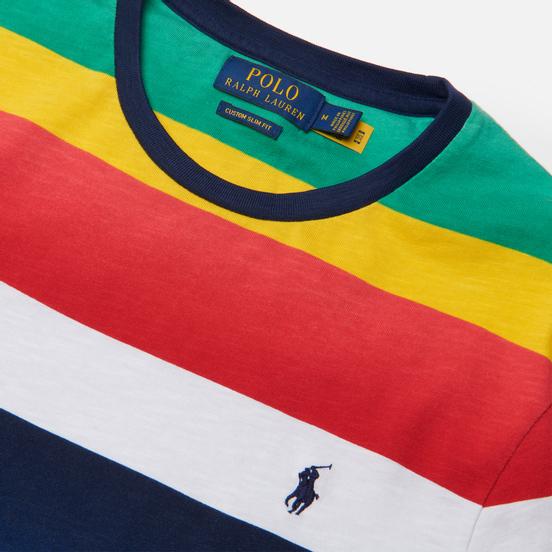 Мужская футболка Polo Ralph Lauren Multicolor Striped Crew Neck Spectrum Orange/Multi