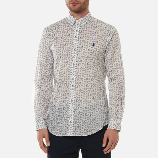 Мужская рубашка Polo Ralph Lauren Slim Fit Poplin African Jungle White/Multi