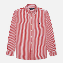 Мужская рубашка Polo Ralph Lauren Custom Fit Button Down Streep Sunrise Red/White