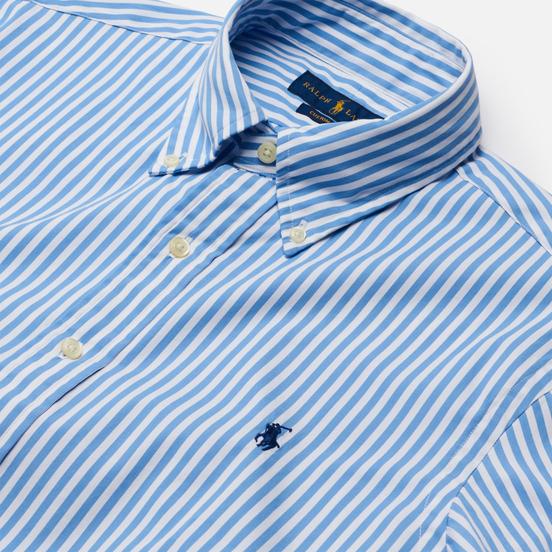 Мужская рубашка Polo Ralph Lauren Custom Fit Button Down Streep Sky Blue/White