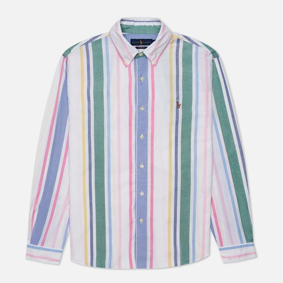 Мужская рубашка Polo Ralph Lauren Custom Fit Striped Oxford White/Green/Multi