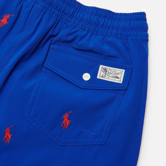 Мужские шорты Polo Ralph Lauren All Over Embroidered Polo Pony Traveler Mid Rugby Royal