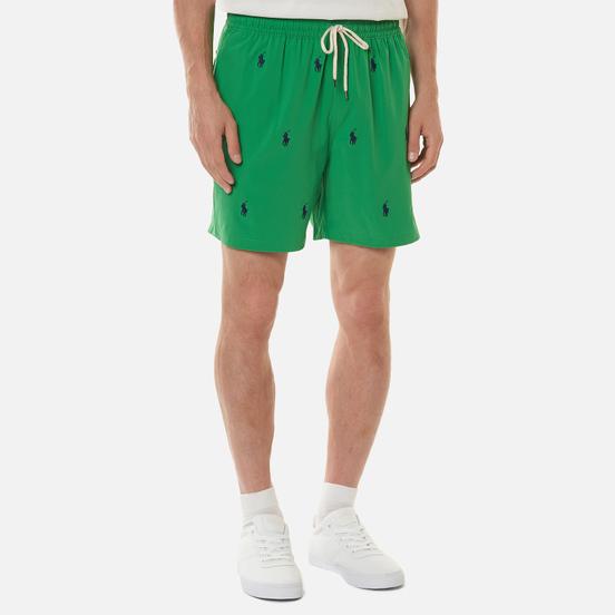 Мужские шорты Polo Ralph Lauren All Over Embroidered Polo Pony Traveler Mid Golf Green